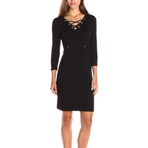 Calvin Klein Black Lace Up Sweater Dress